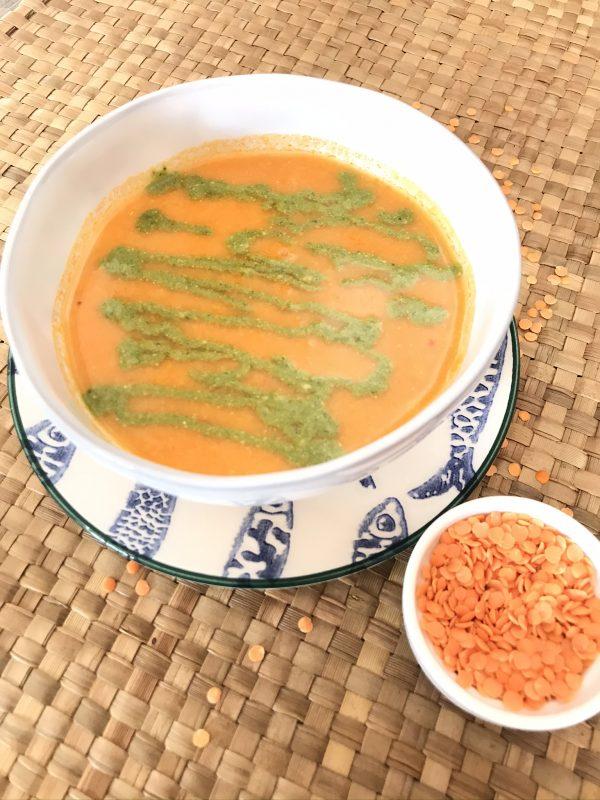 sopa de tomate e lentilhas